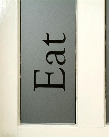 text-eat door