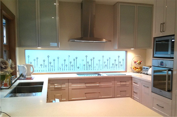 Kitchen with DIY frosted glass film applied to window above sink