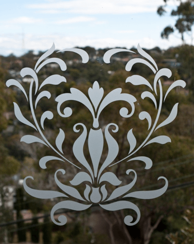 Close up of decorative frosted window decal